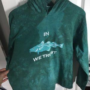 """Fishing themed tie dye hoodie """"in cod we trust"""""""
